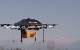 epa03974235 A undated handout image made available by Amazon on 02 December 2013, showing an octocopter drone with an Amazon logo on it, transporting a box. Online retailer Amazon is testing drones to deliver packages, chief executive Jeff Bezos said 01 December 2013 but admitted it could be several years before they would be put to use..The so-called octocopter would be able to deliver packages to consumers within 30 minutes, Bezos told broadcaster CBS' programme 60 Minutes Sunday. The unmanned aerial devices would only be used for small, urgent orders to be delivered within short distances, he said..The eight-propeller drones could transport packages weighing up to 2.5 kilograms and about 16 kilometres away from a distribution centre, Bezos said..But more testing was needed, he said, as well as the approval of the US Federal Aviation Administration. And while Bezos expected to offer the service only in four to five years, he already has a name for it: Prime Air.  EPA/AMAZON / HANDOUT  HANDOUT EDITORIAL USE ONLY/NO SALES